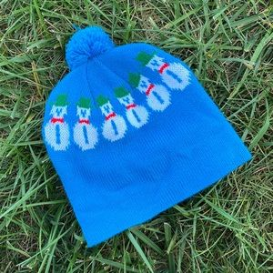 Vtg snowman winter Pom Pom beanie toque hat